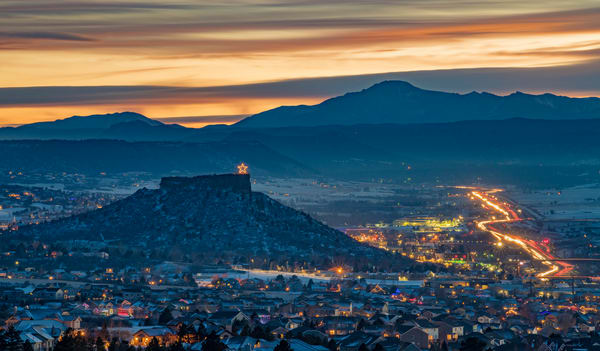 Twilight Photograph Overlooking Castle Rock Star on Christmas Eve