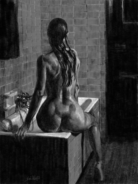 "Digital drawing by Eric Wallis titled, ""Bather and Tub."""