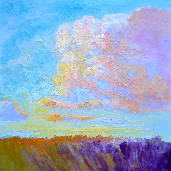 Colorful Clouds Marsh Painting, Art Print on Canvas or Watercolor Paper, Breathless by Dorothy Fagan
