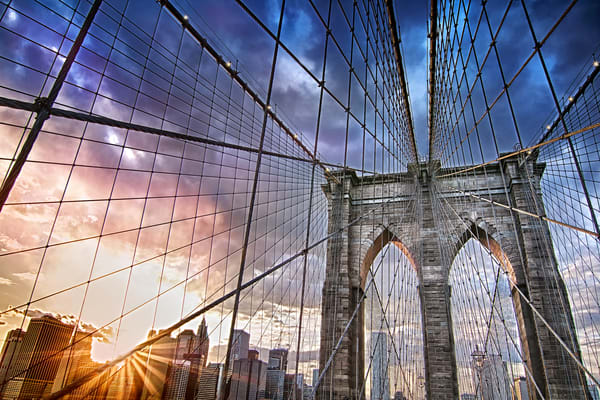 photographs of the Brooklyn Bridge, art photographs of New York City, bridges and walkways in NYC,