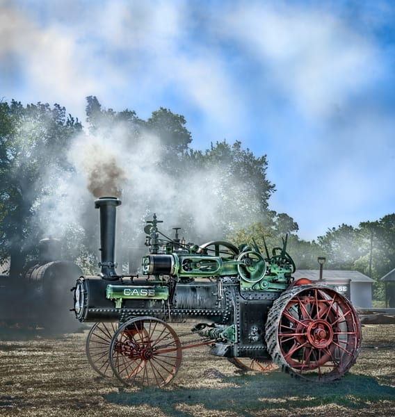 JL Case Steam Smoke Blue Sky Restored Old Tractor fleblanc