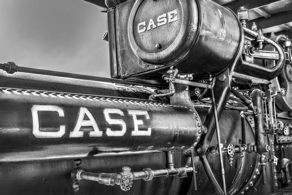 Case Steam Tractor Logo Emblem Closeup Black & White fleblanc