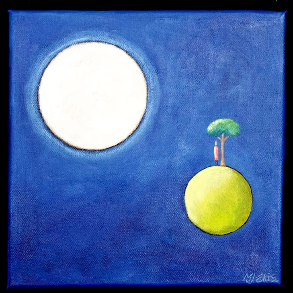 full moon painting, conversations with the moon painting by Mariann Johansen-Ellis, art, paintings