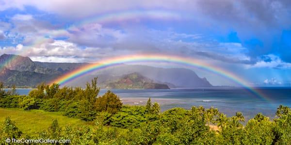 photo of rainbow over Hanalei Bay and Bali Hai