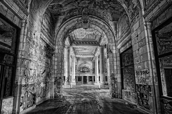 Michigan Central Station Grand Hallway (Monochrome) Photography Art | Lance Rosol Fine Art Photography