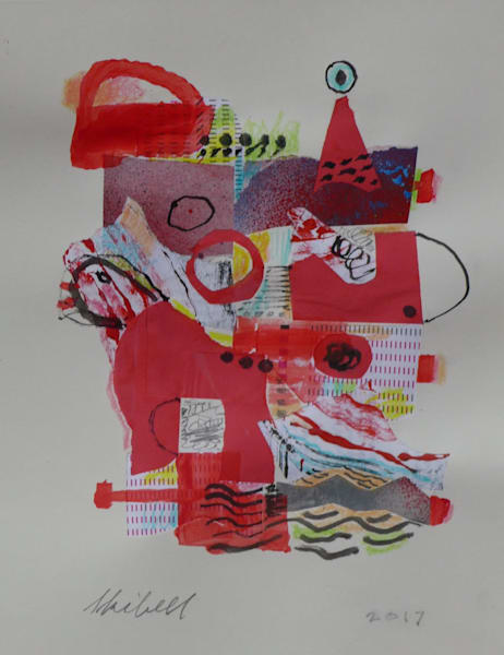 Mostly Red, original collage drawing