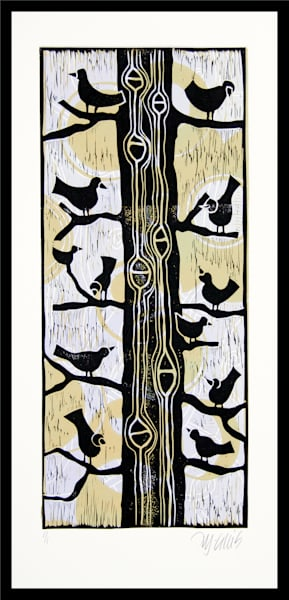 linocut by printmaker Mariann Johansen-Ellis with birds in a tree on a floral background, art, paintings