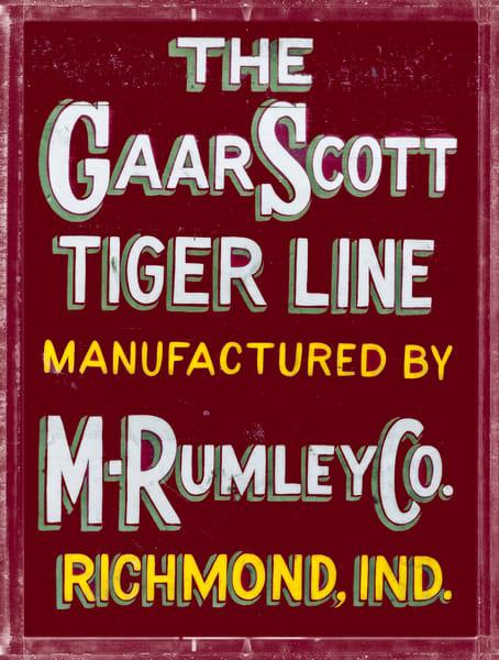 Rumley Gaar Scott Tiger LIne Vintage Advertising Sign fleblanc