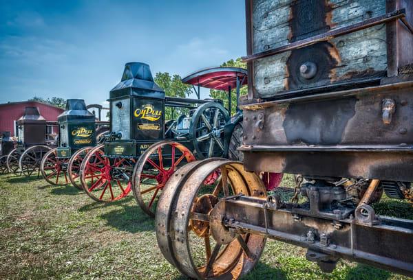 Row of Rumley Oil Pull  Antique Restored Farm Tractors fleblanc