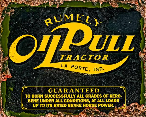 Rumley Oil Pull Farm Tractor Vintage Rusty Logo Sign fleblanc