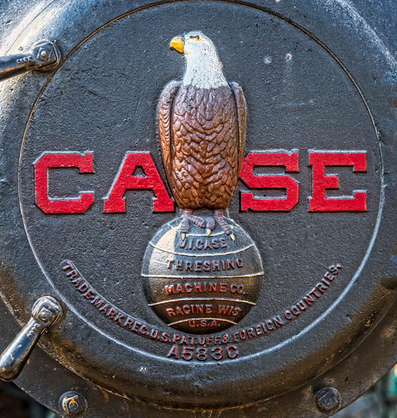 JL Case Farm Tractor Emblem Old Abe Logo Closeup fleblanc
