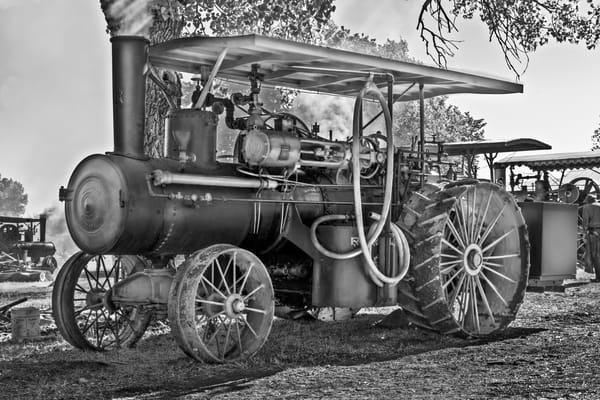 Rumley Steam Tractor Restored Working Black & White fleblanc