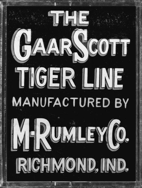 Rumley Gaar Scott Tiger Line Steam Tractor Vintage Sign fleblanc