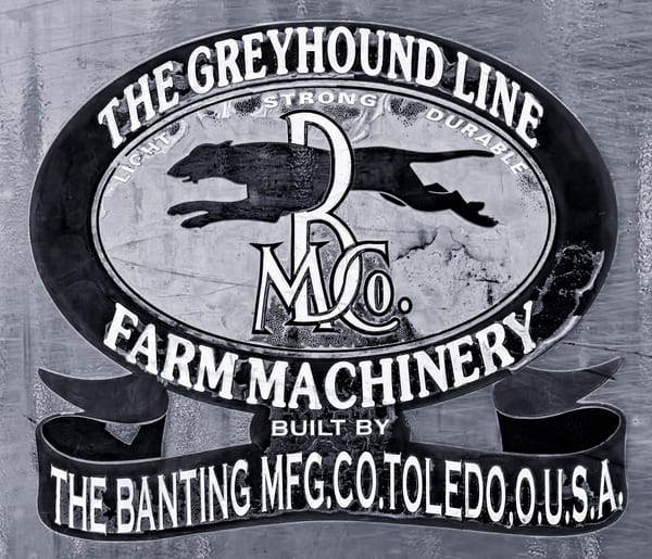 Greyhound Steam Tractor Banting Threshing Emblem fleblanc