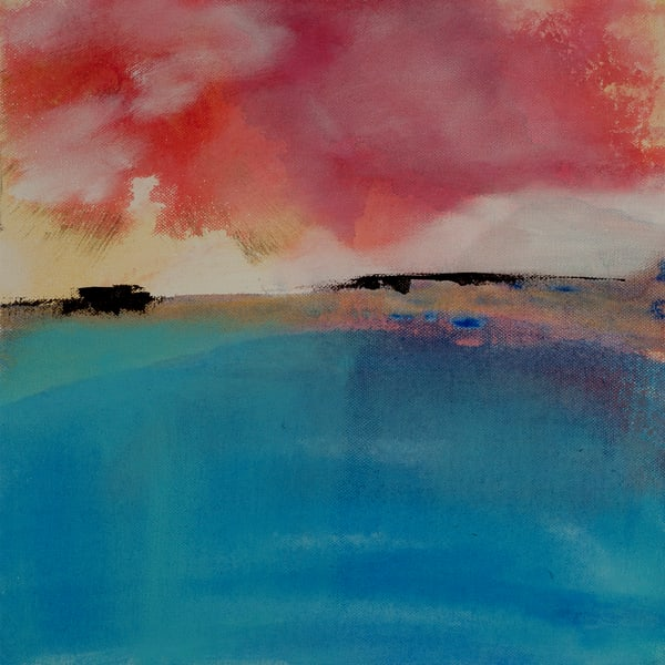 Escape to the Coast contemporary abstract painting suggesting a coastal waterscape.