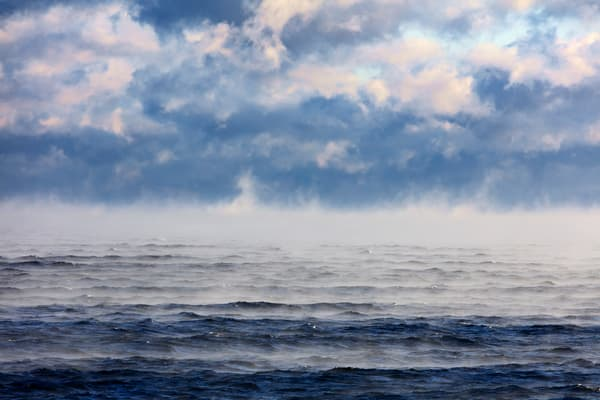 """Smoke on Water 2"" Cape Ann, Rockport MA, Winter Sea Smoke Fine Art Photograph"