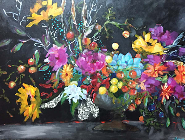 Happy, colorful, whimsical  floral and landscapes- orginal art and  paintings and  art  prints - by Lucy Thomas - on canvas, paper, metal and more. Classes, shows, mailing list.
