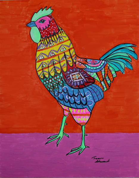Chicken 1, Art Print, Fine Art and Paintings for Sale by Teena Stewart of Serendipitini Studio