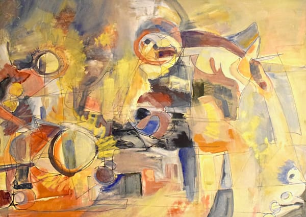 abstracted interior landscape, abstract oil painting inspired by Arshile Gorky and Kandinsky art