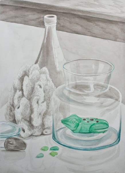 The Frog of Childhood Still Life Art - Painting by Claire K Stringer