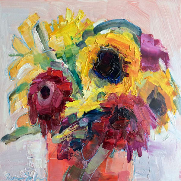 Still Life Oil Painting of sunflowers red gerbera daisies and mums i red water vase oil painting.