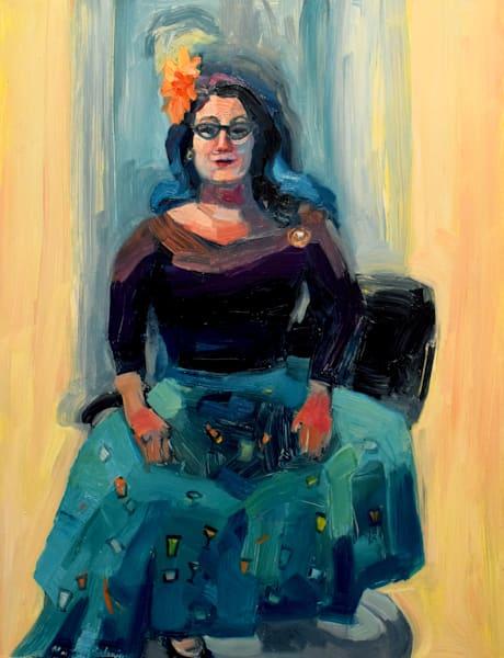 vintage woman oil painting