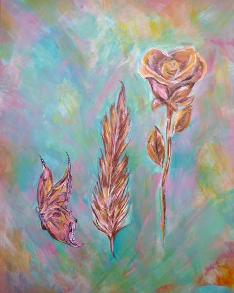 Butterfly, Feather, Flower Art | Art By Dana