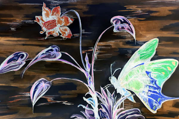 Dark Butter Fly And Flower Art | Art By Dana