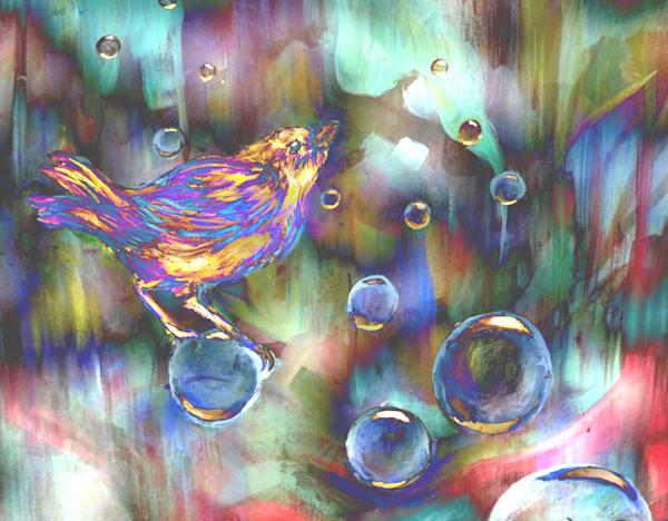 Rainbow Bird And Bubbles Art   Art By Dana