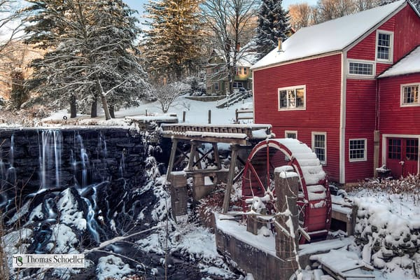 Rural Bridgewater Connecticut and the vintage Old Red Mill / Fine Art winter scenic landscape prints