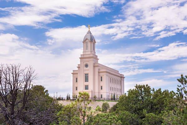 Cedar City Utah Temple - Cloudy Blue Sky Landscape
