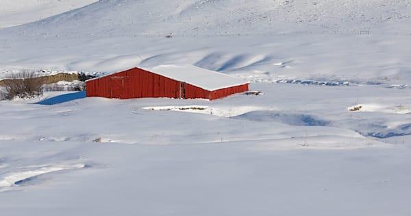 Long Red Barn in Snow