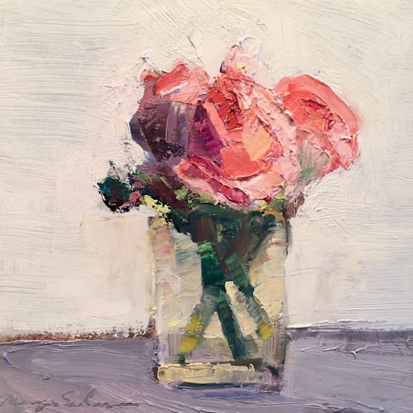 Still Life With Pink Roses in antique French glass  oil painting  on wood impressionist.