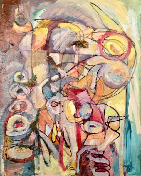 Abstract Oil painting Arshile Gorky Influenced figures in landscape