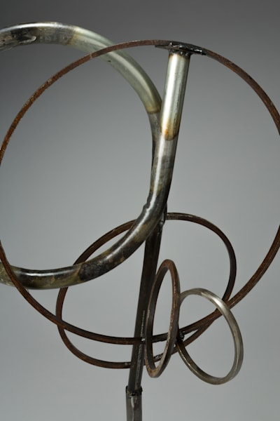 Salvaged metal welded loop sculpture