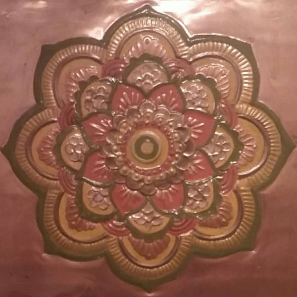 Power Door Copper Mandala Repoussé. Spiritual Art by Adria.