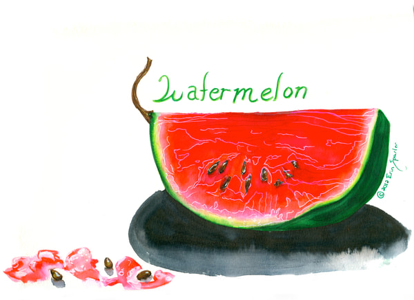 Watercolor painting fo a pink watermelon slice