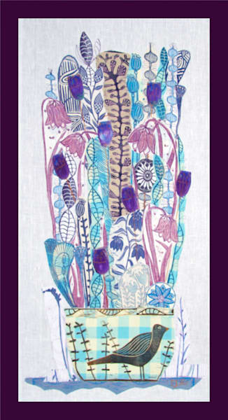in blues and violet a bowl filled with flowers, a linocut collage on textile by Mariann Johansen-Ellis, art, paintings