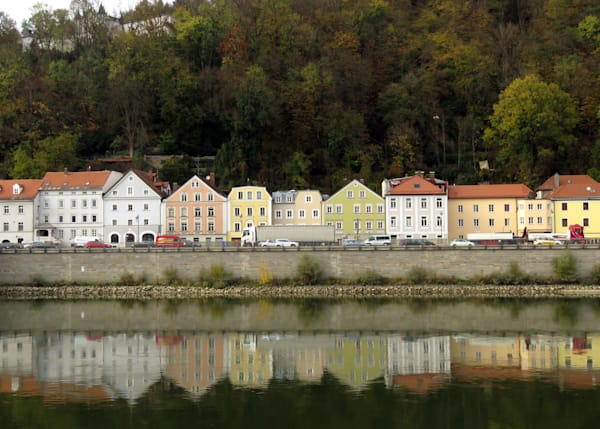 Beautiful reflections on Danube River at Passau, Germany IMG 1105-001