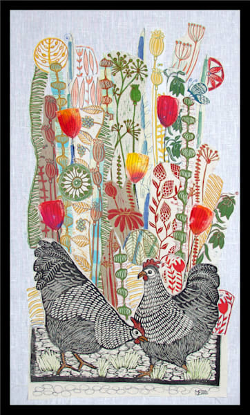 hens and flowers, in this linocut collage made with all handprinted fabrics by Mariann Johansen-Ellis, art, paintings