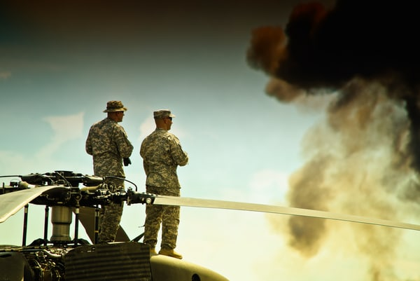 Colorado National Guardsman Viewing explosions at Rocky Mountain Airshow
