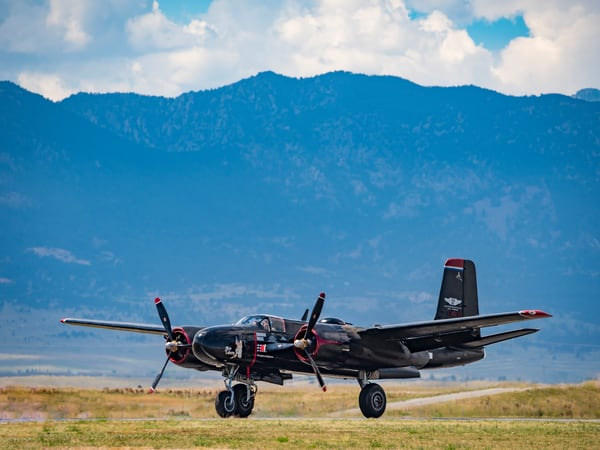 Photo A-26 Invader WWII light Bomber Take Off Colorado Airshow