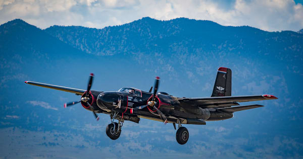 Photo of WWII Era A-26 Invader Landing at Colorado Airshow