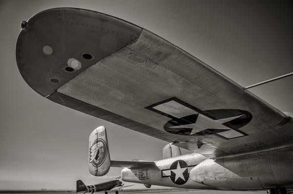 B&W Photograph Vintage WWII B-25 Mitchell Aircraft