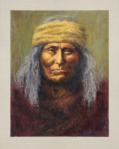 Geronimo Apache, Native American Portrait, Oil Painting by Mark Kashino