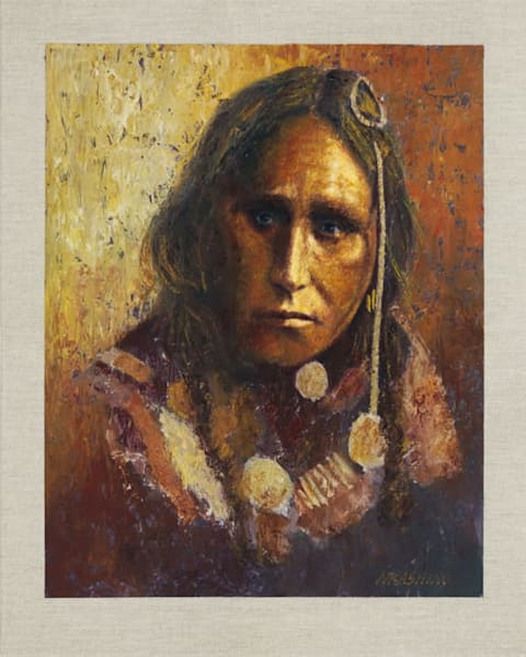 White War Bonnet, Navajo, Native Americans, American Indians, Portraits, Oil Paintings, Mark Kashino