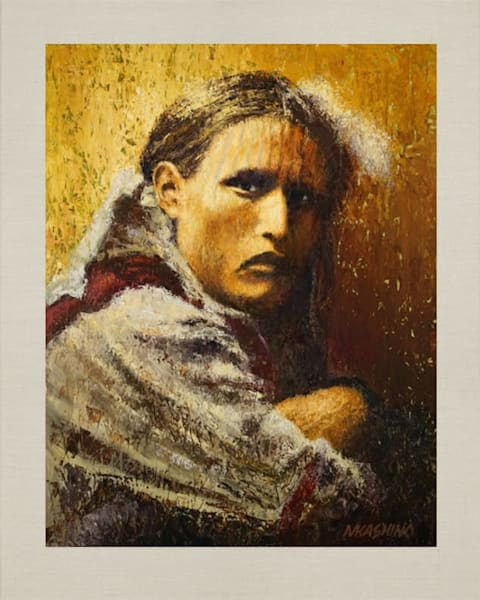White Belly, Nez Perce, Native American Portrait, Oil Painting by Mark Kashino