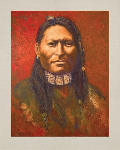Red Sleeve Sioux, Native Americans, American Indians, Portraits, Oil Paintings, Mark Kashino