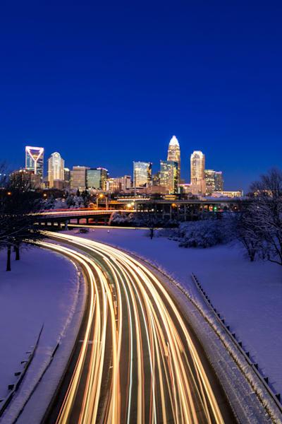 Charlotte Winter Skyline Photograph for Sale as Fine Art