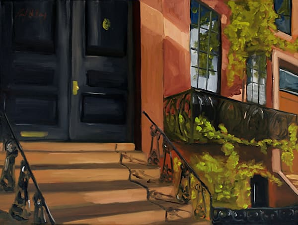 Shine a Light brownstone painting by Paul William | Fine Art for Sale